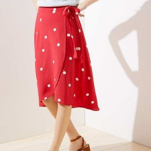 Loft Pink Polka Dot Wrap Skirt